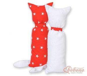 Cuddly cat double-sided-Simple  red stars