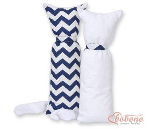 Cuddly cat double-sided-Simple Chevron dark blue