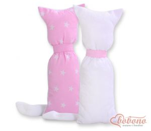 Cuddly cat double-sided- Pink stars