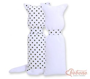 Cuddly cat double-sided- White with black dots