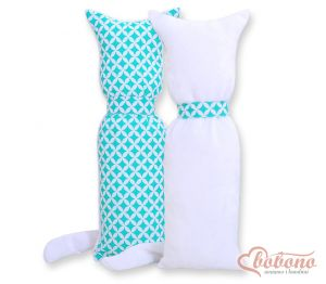Cuddly cat double-sided- mint flowers