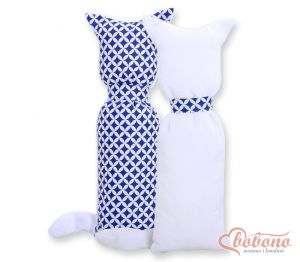 Cuddly cat double-sided- navy blue flowers