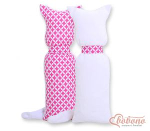 Cuddly cat double-sided- pink flowers