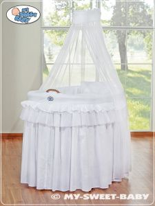 Moses Basket/Wicker crib with drape- Little Prince/Princess white