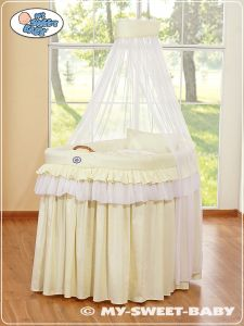Moses Basket/Wicker crib with drape- Little Prince/Princess cream