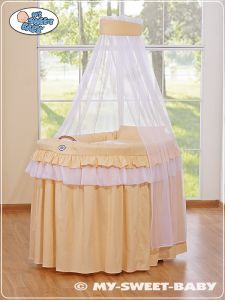 Moses Basket/Wicker crib with drape- Little Prince/Princess peach