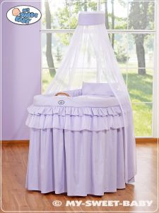 Moses Basket/Wicker crib with drape- Little Prince/Princess lilac