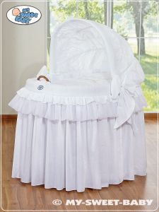 Moses Basket/Wicker crib with hood- Little Prince/Princess white