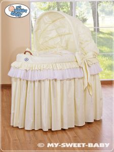 Moses Basket/Wicker crib with hood- Little Prince/Princess cream