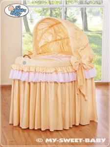 Moses Basket/Wicker crib with hood- Little Prince/Princess orange