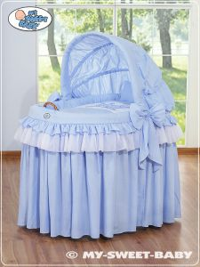Moses Basket/Wicker crib with hood- Little Prince/Princess blue
