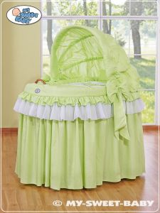 Wicker hood crib- Little Prince/Princess green