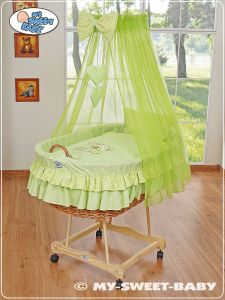 Moses Basket/Wicker crib with drape- Bear with bow green