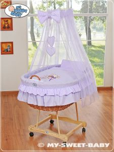 Moses Basket/Wicker crib with drape- Bear with bow lilac