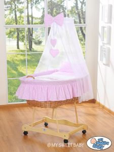 Moses Basket/Wicker crib with drape- Owls Bigi Zibi & Adele pink