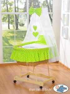 Moses Basket/Wicker crib with drape- Owls Bigi Zibi & Adele green