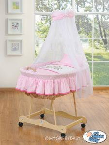 Moses Basket/Wicker crib with drape- Teddy Bear Barnaba pink