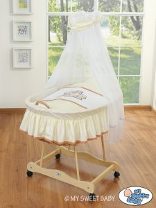 Moses Basket/Wicker crib with drape- Teddy Bear Barnaba cream