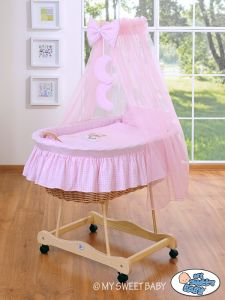 Moses Basket/Wicker crib with drape- Good night pink