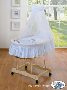 Moses Basket/Wicker crib with drape- Donkey Luca blue