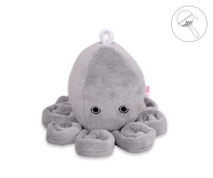 Cuddly octopus with rattle - gray