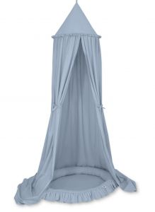 Set: Hanging canopy + Nest with flounce- pastel blue