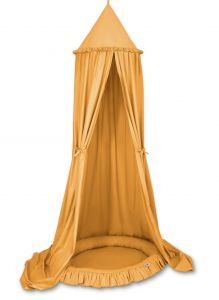 Set: Hanging canopy + Nest with flounce- honey yellow