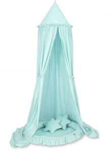 Set: Hanging canopy + Nest with flounce + pillows - mint