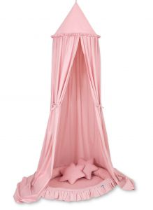 Set: Hanging canopy + Nest with flounce + pillows - pastel pink