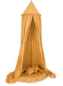 Set: Hanging canopy + Nest with flounce + pillows - honey yellow