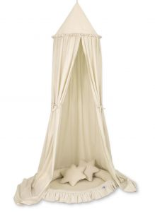 Set: Hanging canopy + Nest with flounce + pillows - beige