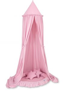 Set: Hanging canopy + Nest with flounce + pillows - pink