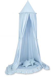 Set: Hanging canopy + Nest with flounce + pillows - blue