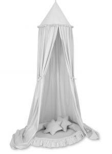 Set: Hanging canopy + Nest with flounce + pillows - gray
