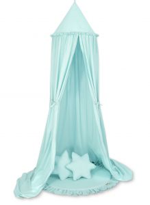 Set: Hanging canopy + Floor play mat + pillows - mint