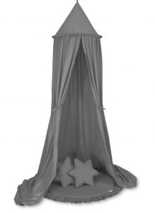 Set: Hanging canopy + Floor play mat + pillows - anthracite