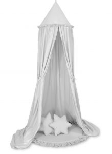 Set: Hanging canopy + Floor play mat + pillows - gray
