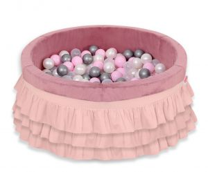 Ball-pit with frills with balls 200pcs - pastel pink