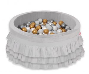 Ball-pit with frills with balls 200pcs - gray