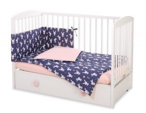 Bedding set 3-pcs -  rabbits navy blue