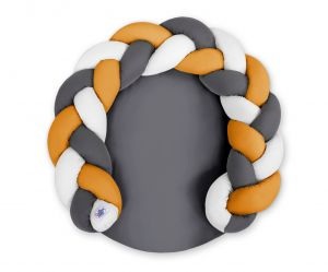 Baby donut pillow/ play mat 2 in 1 - white-honey yellow-anthracite