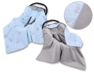 Double-sided car seat blanket - blue rabbits