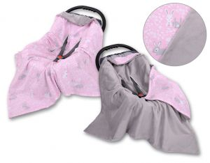Double-sided car seat blanket - pink rabbits