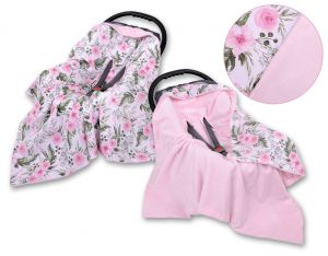 Double-sided car seat blanket - peony flower pink