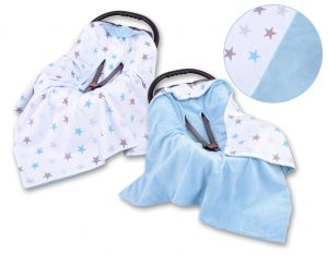 Double-sided car seat blanket - gray-blau stars