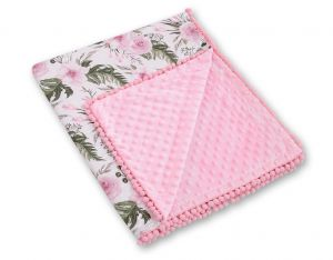 Double-sided blanket minky with pompoms - peony flower pink