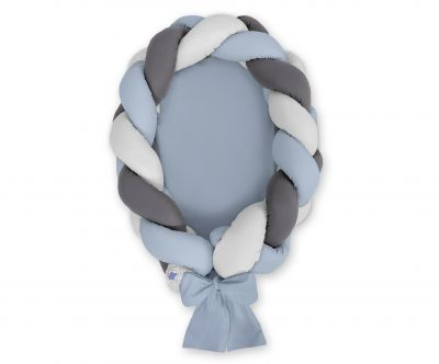 Braided baby nest 2 in 1 - pastel blue - gray - anthracite