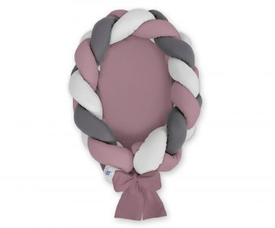 Braided baby nest 2 in 1 - pastel violet - gray - anthracite