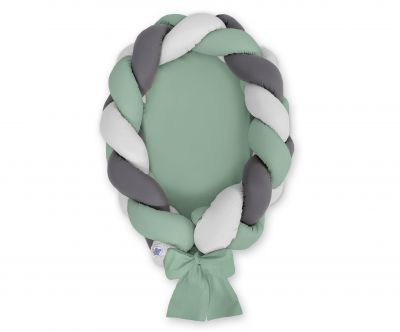 Braided baby nest 2 in 1 - pastel green - gray - anthracite