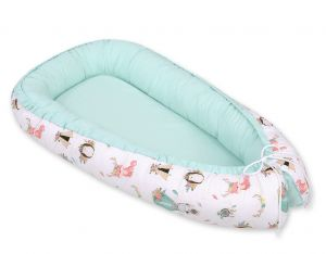 Baby nest- foxes beige/mint